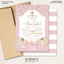 Load image into Gallery viewer, Baptism Invitation Gold & Pink Gold Glitter Floral Invite Pink Peony Christening Party Invite Printed - Printable File Free Shipping Ich0002
