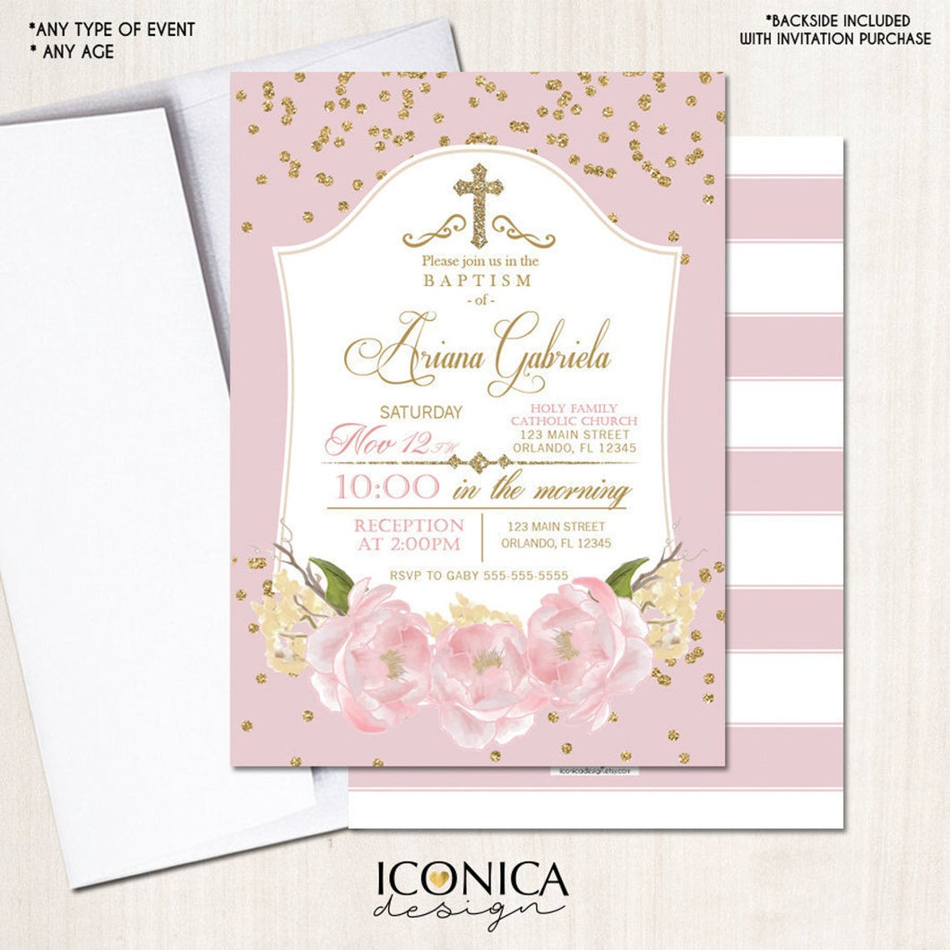 Baptism Invitation Gold & Pink Gold Glitter Floral Invite Pink Peony Christening Party Invite Printed - Printable File Free Shipping Ich0002