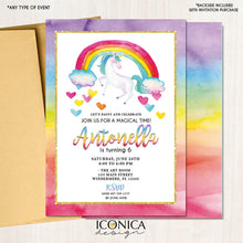 Load image into Gallery viewer, Unicorn Birthday Invitation Tie Dye | Rainbow Birthday Party | Art Party Invitation |Rainbow Watercolor Card - Any Age | Ibd0025