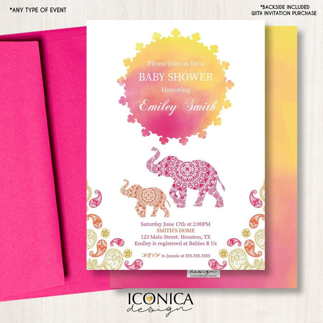 Moroccan Baby Shower Invitation, Moroccan Decor. Elephant Invitation,  Personalize, Arabian Decor Printed -Printable, IBS0012