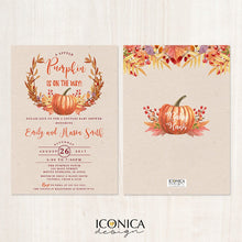 Load image into Gallery viewer, Pumpkin Couples Baby Shower Invitation, Little Pumpkin Cards, Pumpkin Patch, October Baby, Pumpkin Themed Printed or Printable File IBS0014
