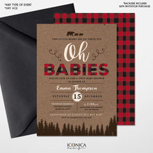 Load image into Gallery viewer, Lumberjack Twin Baby Shower Invitation,Lumberjack Baby Shower cards,Buffalo check,Oh Babies invitation, Baby Boy, Free Shipping IBS0031