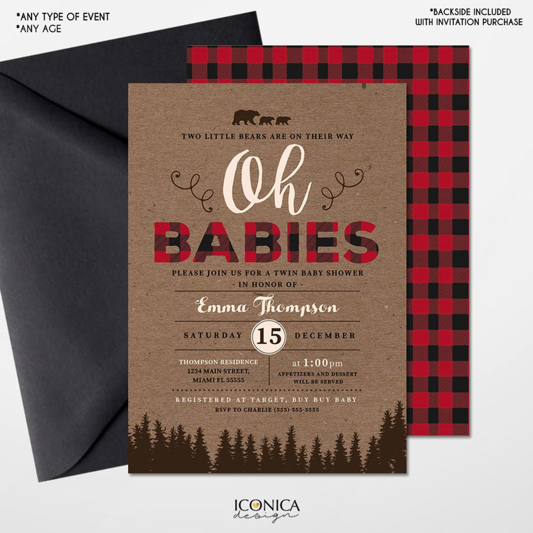 Lumberjack Twin Baby Shower Invitation,Lumberjack Baby Shower cards,Buffalo check,Oh Babies invitation, Baby Boy, Free Shipping IBS0031