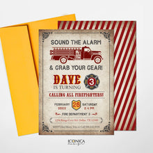 Load image into Gallery viewer, Firetruck Kids Birthday Invitations, any age, Vintage Firetruck Party Invitation, Firefighters Party Invites, Printed or Printable File