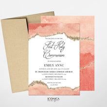 Load image into Gallery viewer, First Communion Invitation Boy or Girl Geode Elegant Invitations, Blue Watercolor Geode Invitation,Any Religious Event