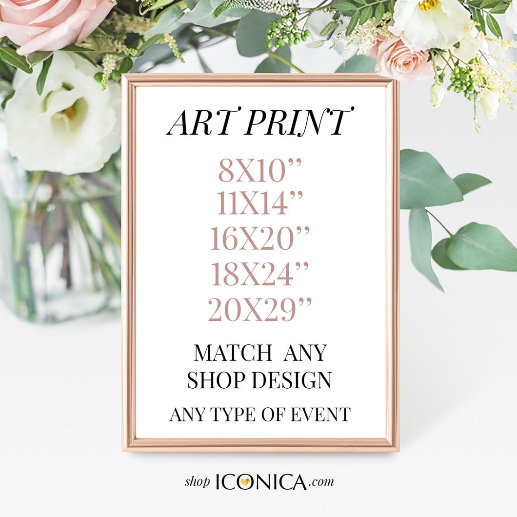 Custom Art Print, Party Sign personalized ||a La Carte || Made To Match Any Invitation, backdrop or Collection from our shop