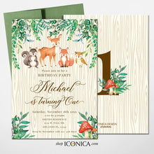 Load image into Gallery viewer, Woodland 1st Birthday Invitation, Forest Animals Birthday cards, First birthday invitation, Rustic Woodland invite, Deer Invitation