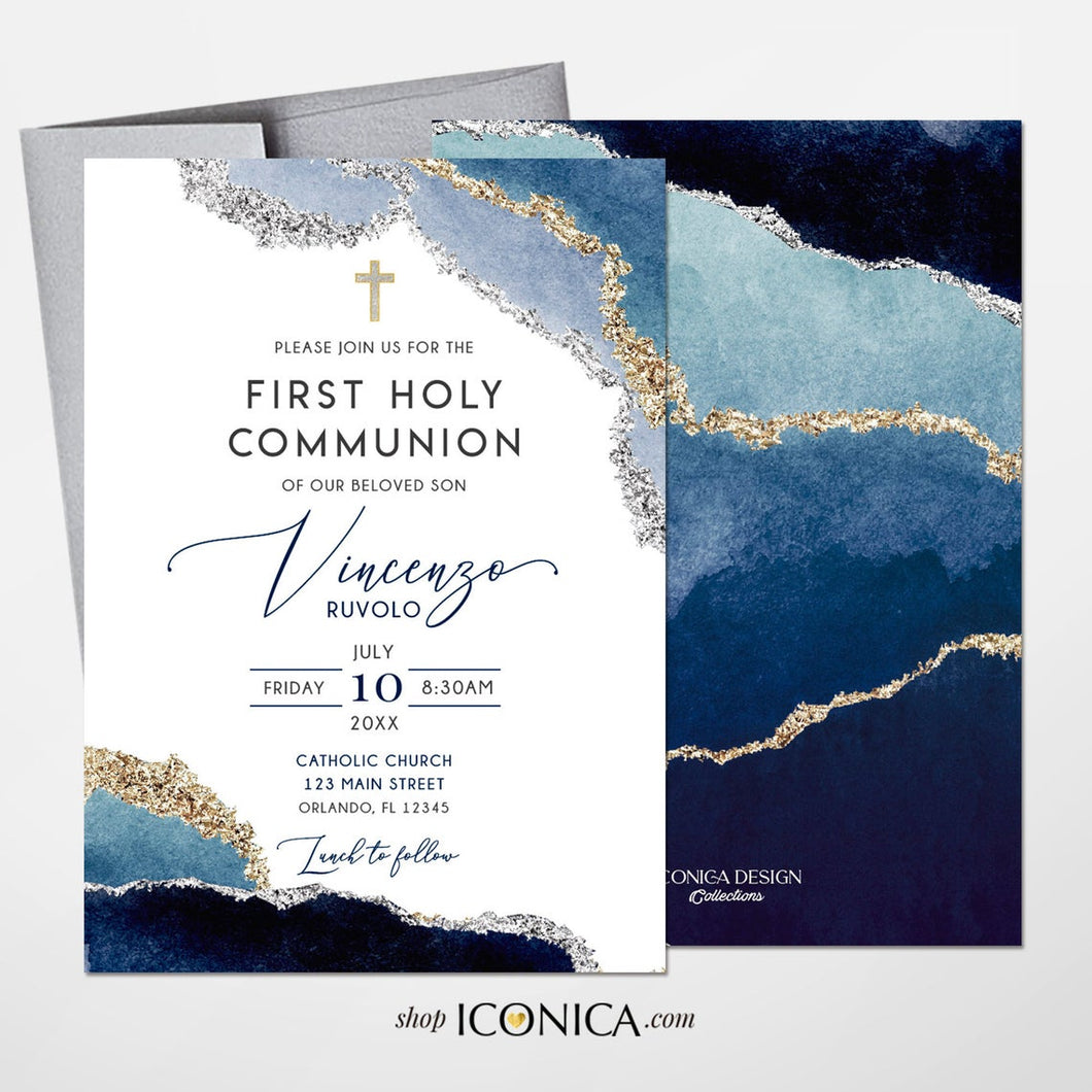 First Communion Invitation Boy or Girl Geode Elegant Invitations, Blue Watercolor Geode Invitation,Any Religious Event