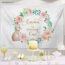 Load image into Gallery viewer, Bunny Party Backdrop, Some Bunny is One decor, Easter Bunny Decor, Personalized First Birthday Decor, Any type of event IBD0055