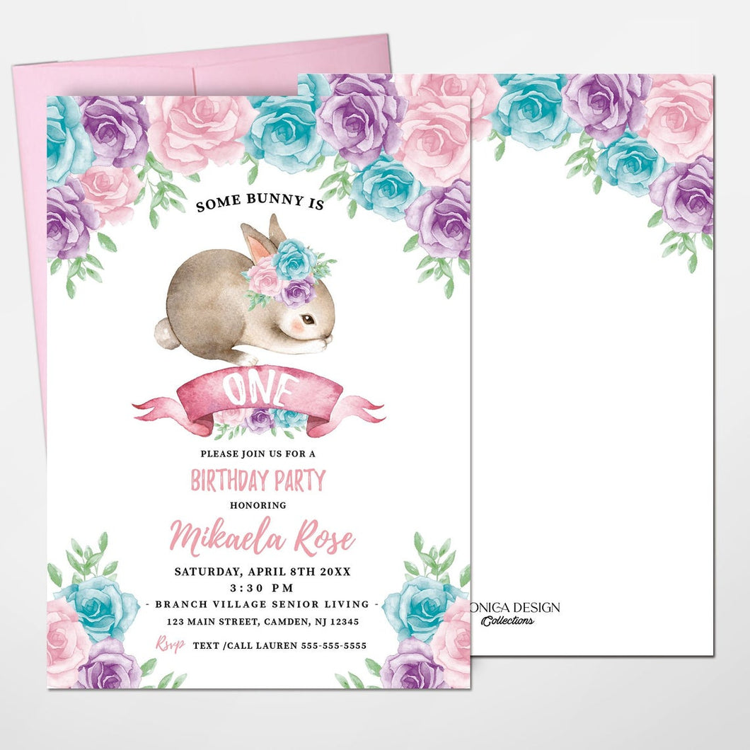 Bunny First Birthday Invitation, Bunny 1st Birthday, Floral Pink Invite, Spring Parties, Some Bunny is ONE, Printed, Elegant Floral Garland easter