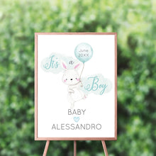 Load image into Gallery viewer, Blue Bunny Gender Reveal Welcome Sign, Garden Bunny Baby Shower Sign, Easter, Spring Parties, Gender Reveal Welcome Sign, Elegant Bunny, It's A boy, Personalized
