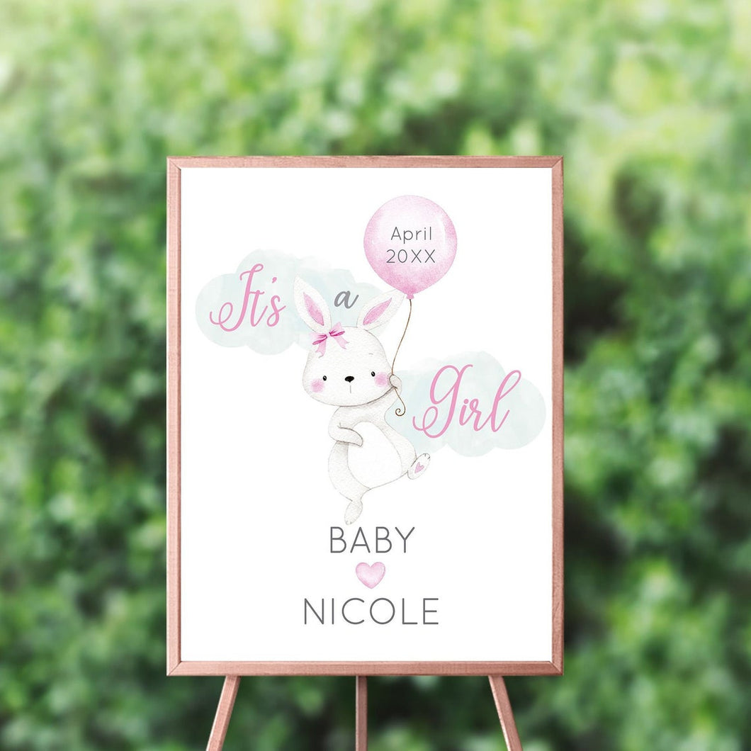 Bunny Baby Shower Welcome Sign Gender Reveal , Bunny Baby Shower Sign, Easter, Spring Parties, Gender Reveal Welcome Sign, Cute Bunny Sign ,It's A Girl Personalized