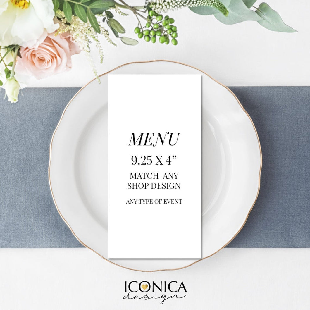 Menu Card - Printable Digital File or Printed Menus ||A la carte || Made to match any ID invitation - Free Shipping