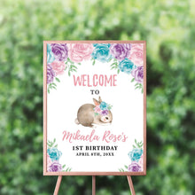 Load image into Gallery viewer, Bunny First Birthday Invitation, Bunny 1st Birthday, Floral Pink Invite, Spring Parties, Some Bunny is ONE, Printed, Elegant Floral Garland easter