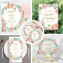 Load image into Gallery viewer, Menu Card 9.25 x 4 Printed Menu Easter Bunny Menu, Spring Parties, Floral Bunny Menu, This bunny is one decoration, Floral Bunny Decor, Eater Bunny Decor
