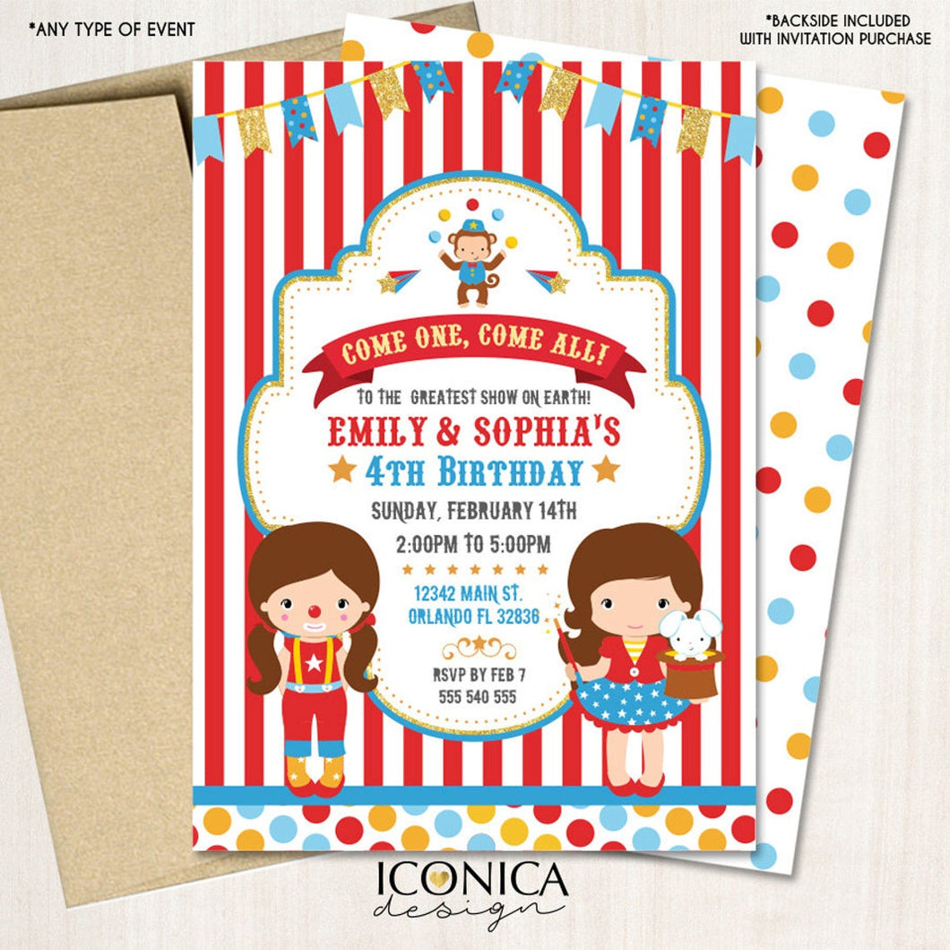 Carnival 1st Birthday Invitations or any age Circus Animals Birthday Invitation Big Top Circus Party Printed or Printable File IBD0020