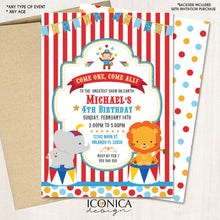 Load image into Gallery viewer, Carnival 1st Birthday Invitations or any age Circus Animals Birthday Invitation Big Top Circus Party Printed or Printable File IBD0020
