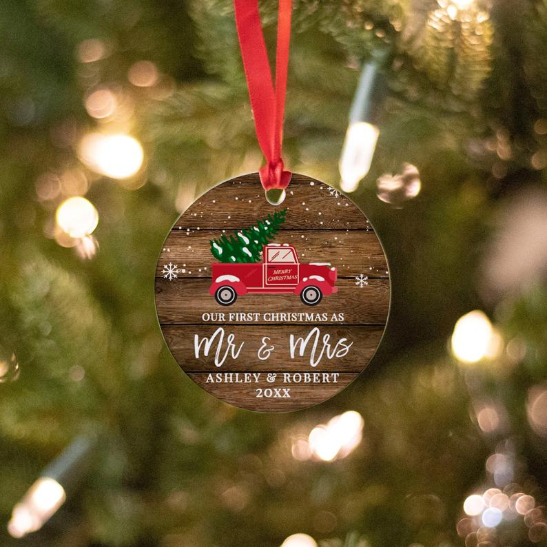 Christmas Ornament Personalized | Christmas Decoration | Holiday Gifts | Our first Christmas as Mr and Mrs | Holiday decor