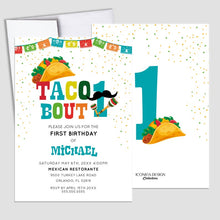 Load image into Gallery viewer, Taco About ONE Invitation,Fiesta theme 1st birthday Invitation,1st birthday Taco Bout a Party Card,Taco about turning one, Cinco de Mayo Card