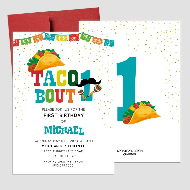 Taco About ONE Invitation,Fiesta theme 1st birthday Invitation,1st birthday Taco Bout a Party Card,Taco about turning one, Cinco de Mayo Card