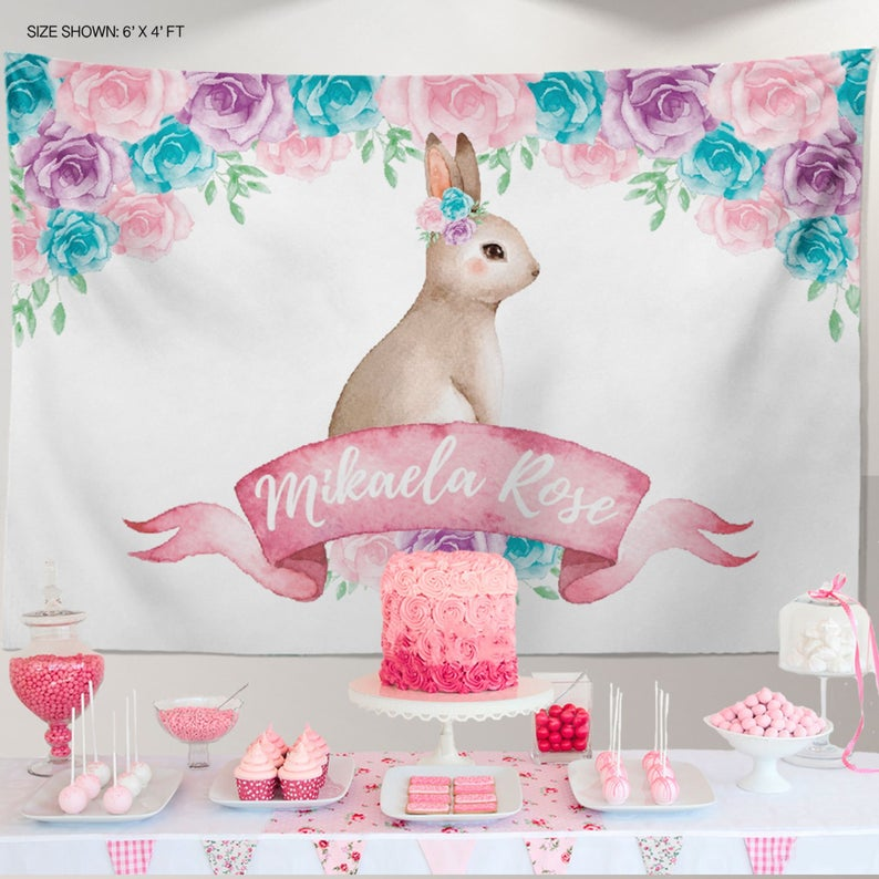 Bunny Garden Party Backdrop, Elegant Bunny Backdrop, Spring Parties, Trendy Floral Easter Bunny Decor, Personalized First Birthday Decor, Any type of event