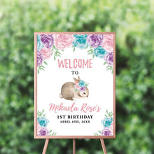Load image into Gallery viewer, Bunny Garden Party Backdrop, Elegant Bunny Backdrop, Spring Parties, Trendy Floral Easter Bunny Decor, Personalized First Birthday Decor, Any type of event