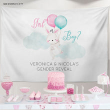 Load image into Gallery viewer, Bunny Gender Reveal Backdrop, Gender Reveal Backdrop, Gender Reveal, Boy or Girl, Bunny Boy or Girl Banner ,Boy or Girl Banner, baby shower