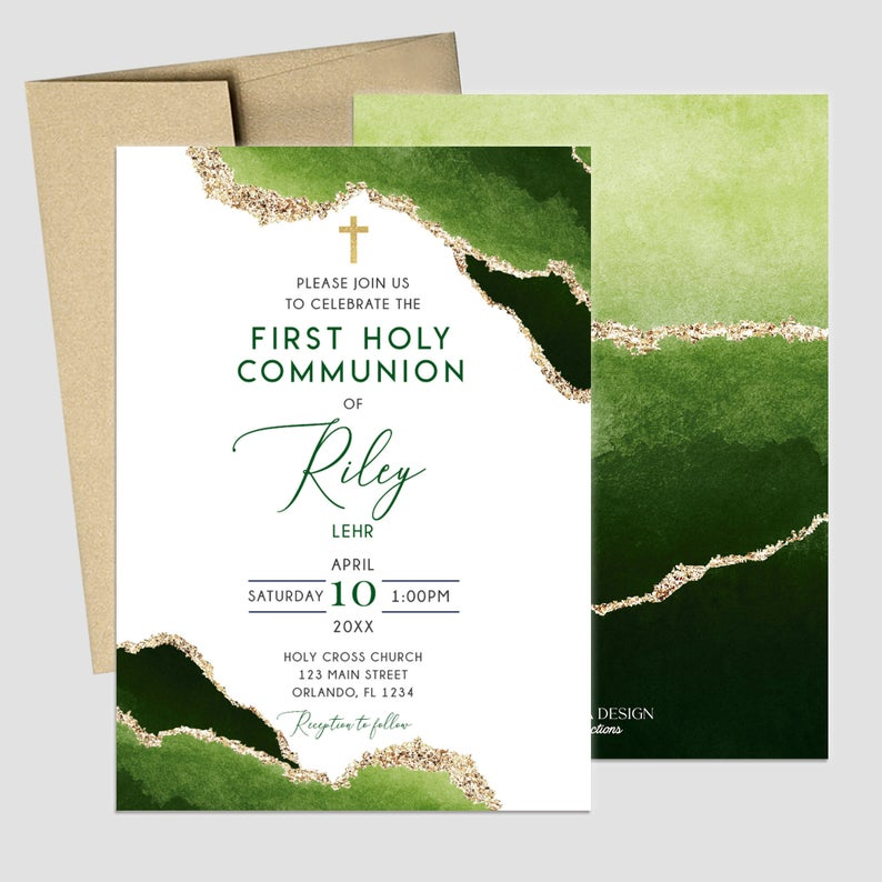 First Communion Invitation Boy or Girl Geode Elegant Invitations, Green Watercolor Geode Invitation, Any Religious Event, More colors available