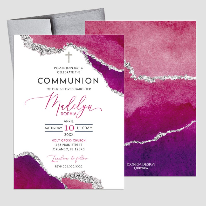 First Communion Invitation Girl or Boy Geode Elegant Invitations, Pink Watercolor Geode Invitation, Any Religious Event, More colors available