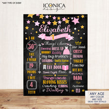 Load image into Gallery viewer, Twinkle Twinkle Girl First Birthday Milestone Poster Gold And Pink Sign Printed Or Printable Chalkboard Sign, Tassel Garland