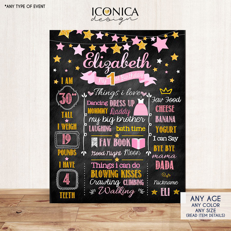 Twinkle Twinkle Girl First Birthday Milestone Poster Gold And Pink Sign Printed Or Printable Chalkboard Sign, Tassel Garland