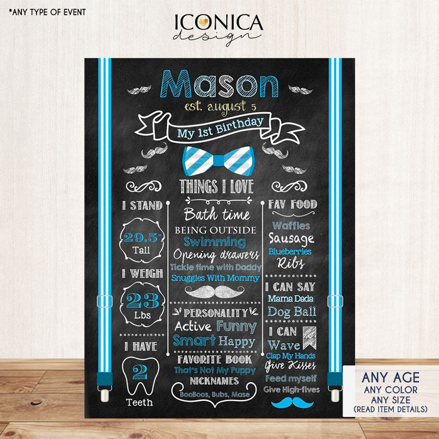 First Birthday Chalkboard Sign Little Man 1st Birthday Poster Mustache Bash Bowties Birthday Photo Prop Blue Printed Or Printable Cbd0002