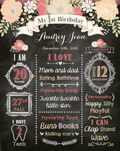 Load image into Gallery viewer, Floral First Birthday Chalkboard Sign,Peach Coral 1st Birthday Party Sign,Milestones Poster, Free Shipping Printed Or Printable File CBD0023