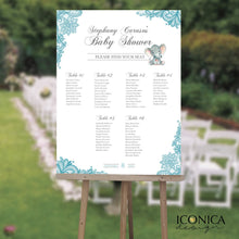 Load image into Gallery viewer, Baby Shower Seating Chart Board, Elegant Blue Lace Seating Chart, Guest List Chart, Seating Chart, Blue Lace, DIGITAL OR PRINTED SCW0004