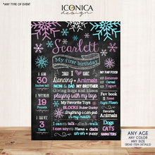 Load image into Gallery viewer, Winter Wonderland First Birthday Chalkboard Sign Birthday Poster, Snowflakes, Purple and Blue, Holiday Birthday, Printed or Printable File