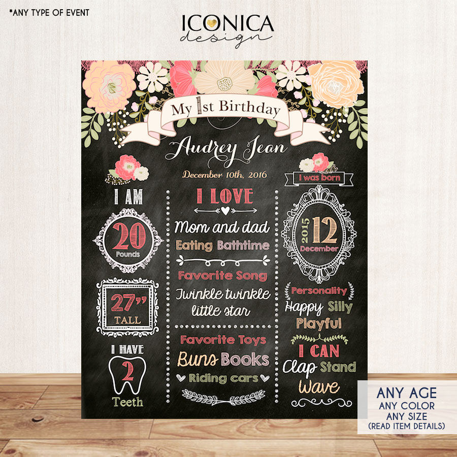 Floral First Birthday Chalkboard Sign,Peach Coral 1st Birthday Party Sign,Milestones Poster, Free Shipping Printed Or Printable File CBD0023