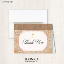 Load image into Gallery viewer, Kraft Lace Religious Thank You Cards /set Of 10/ A2 Folded / White Or Cream A2 Envelopes Included / Non Personalized - Printed Cards Tcf0002