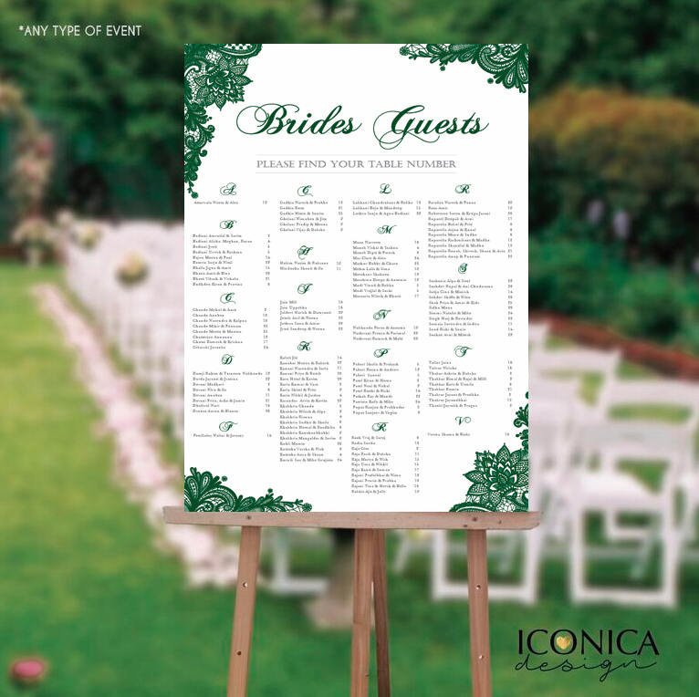 Wedding Seating Chart Board Elegant Seaweed Green Lace Seating Chart - Guest List Chart Seating Chart Template Or Printed Any Color Scw0007