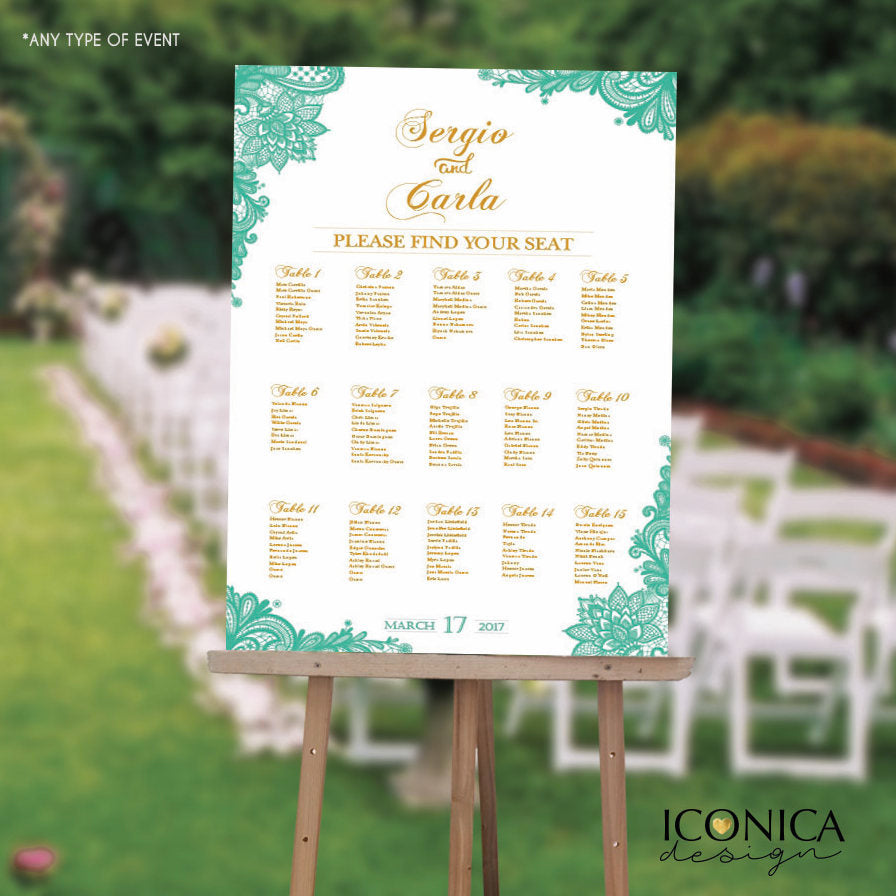 Wedding Seating Chart Board Mint Printable Guest List Chart Seating Chart Template Lace Mint Green Wedding Digital Or Printed SCW0001