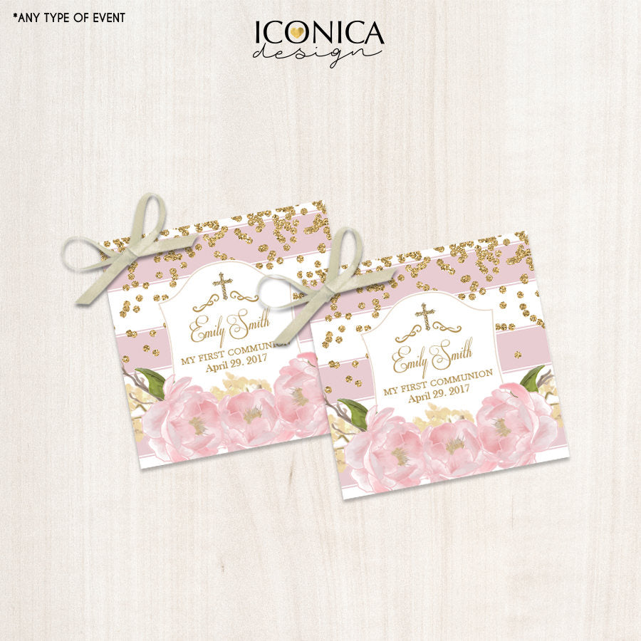First Communion Favor Tags - Floral Pink Stripes Gift Tags - Thank You Tags - Pink Peonies Digital File Or Printed Shipped Gift Tags Tfc0002