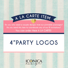 "Load image into Gallery viewer, Party Logos 4"", Centerpiece Cutout, Cake Topper 