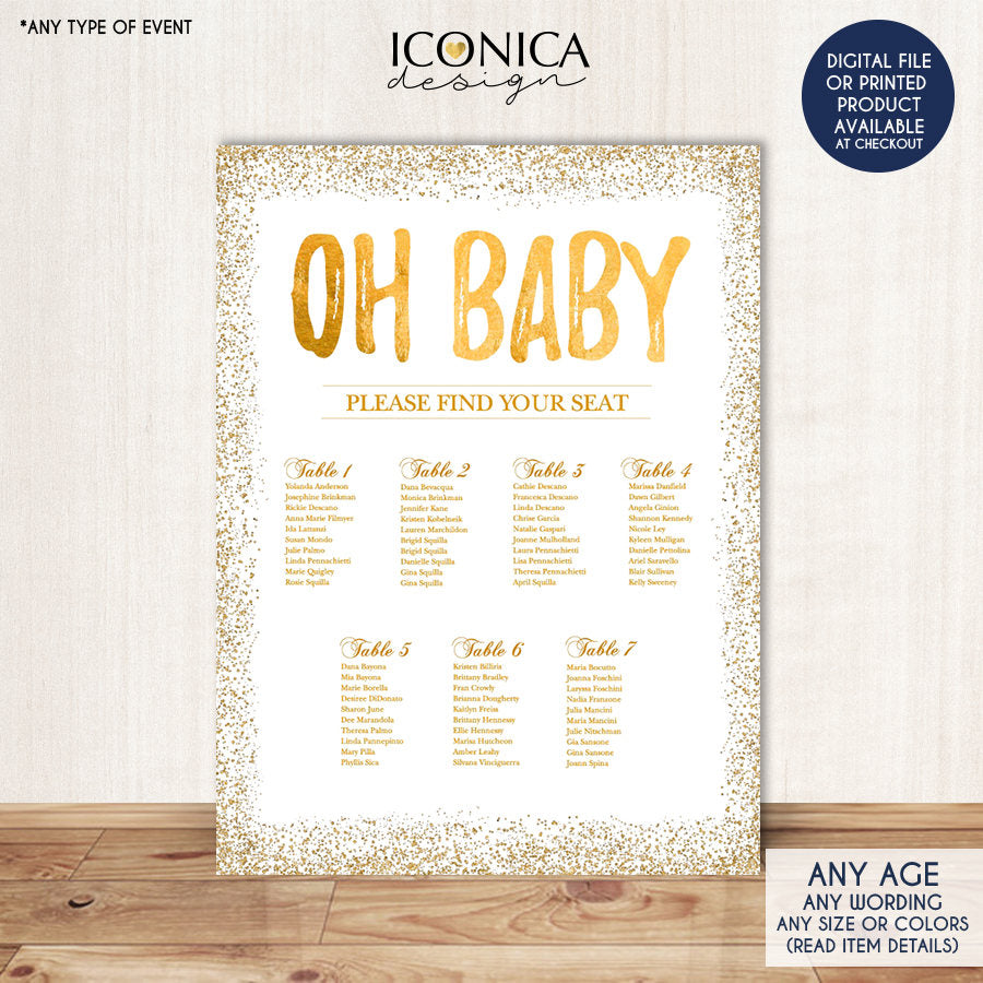 BABY SHOWER Seating Chart Board, Oh baby Gold Seating Chart, Gold Guest List Chart , Any Color, Gold Confeti, Template Or Printed SCW0013