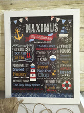 Load image into Gallery viewer, Nautical Chalkboard Sign, First Birthday Poster, Any Age, Sailor Party, Ocean Party Under The Sea Blue And Pink Printed Or Printable CBD0024