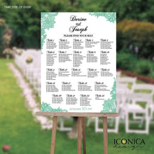 Load image into Gallery viewer, Wedding Seating Chart Board, Teal Printable Guest List Chart, Seating Chart Template, Lace Teal Wedding, Digital Or Printed