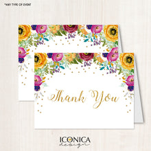 Load image into Gallery viewer, Floral Thank You Cards /set Of 10/ A2 Folded / White Envelopes Included / Non Personalized - Printed Cards
