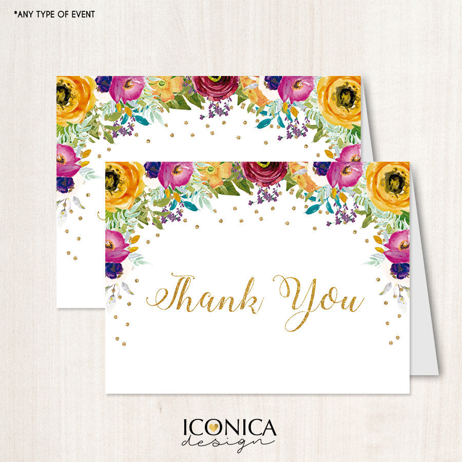 Floral Thank You Cards /set Of 10/ A2 Folded / White Envelopes Included / Non Personalized - Printed Cards