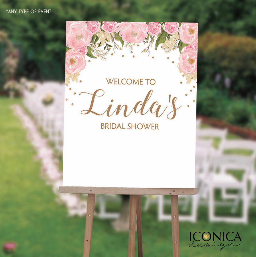 Floral Bridal Shower Welcome Sign, Pink and Gold Floral Sign - Garden Party - Printed Or Printable File SWBR003