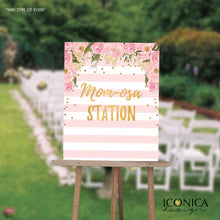 "Load image into Gallery viewer, Baby Shower ""Mom-osa Station"" Sign, Floral Pink Stripes Sign, Mimosa Station Sign, Printed or Printable File - Free Shipping"