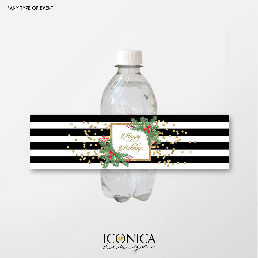 Holiday Bottle Wrappers, Festive Water Bottle Labels, Black and White Stripes, Gold Glitter, Digital File or Printed Labels