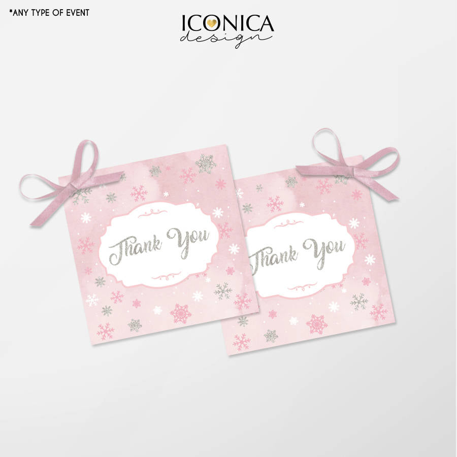 Winter Wonderland Favor Tags - Christmas Gift Tags - Thank You Tags - Pink and Silver Tags, Digital File Or Printed Gift Tags